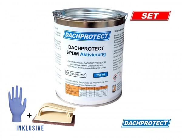 DACHPROTECT EPDM Aktivierung 750 ml, 2x Schwamm & Handschuh für Nahtprodukte (bis ca. 54 m Naht)
