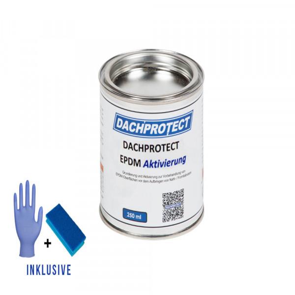 DACHPROTECT® EPDM Aktivierung 250 ml + Schwamm & Handschuh für Nahtprodukte (bis 18 m Naht)