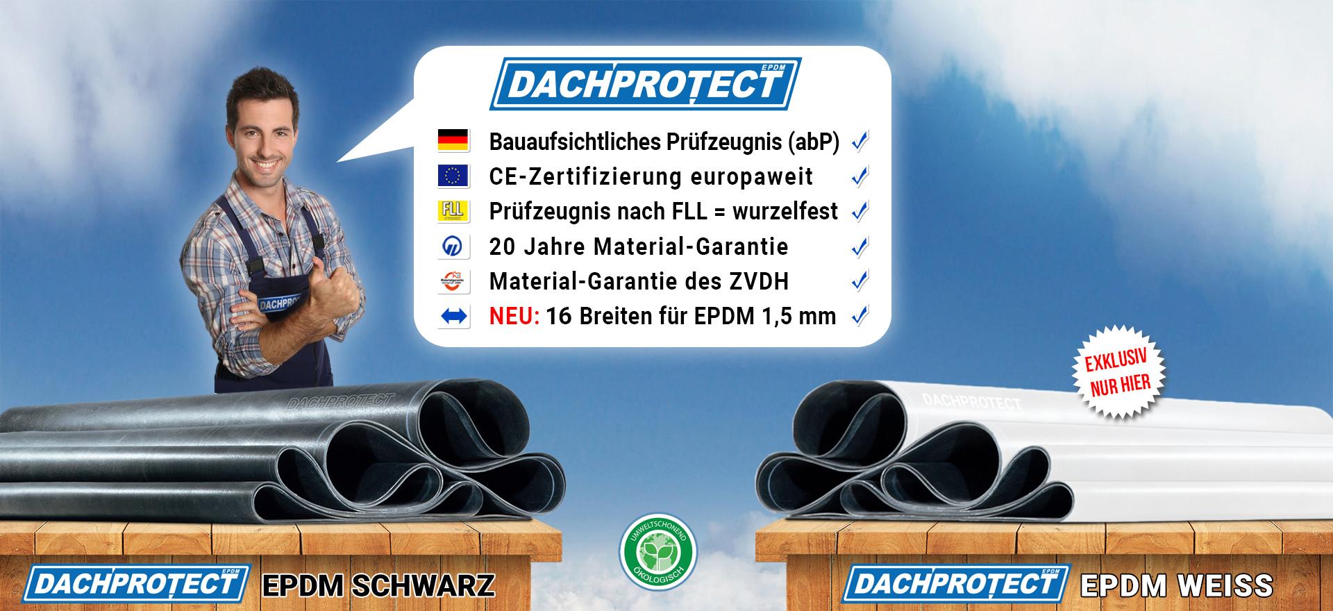 DACHPROTECT EPDM-Dachbahnen in schwarz und weiß