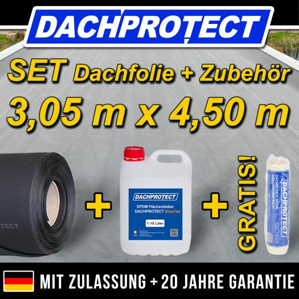 EPDM Dachfolie Set Nr.09 305 x 450cm inkl. Kleber -> Carport Garage Gartenhaus Balkon Gründach FLL