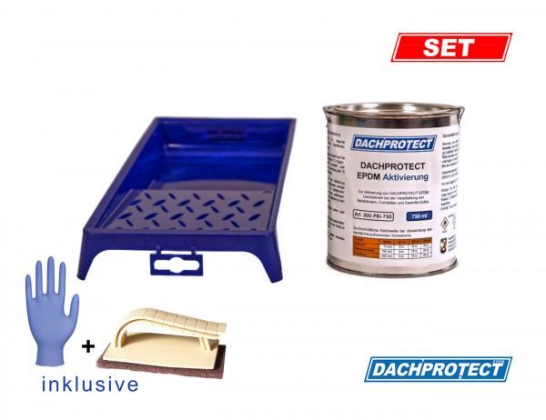 DACHPROTECT EPDM Aktivierung 750ml, inkl. Vliespadhalter und Handschuhe (bis 55 m Naht)